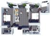 С1 (B1+A1): living room, 2 bedrooms, 3 bathrooms
