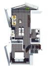 B3: 1 bedroom, living room, bathroom